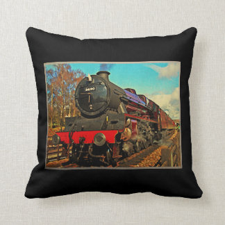 Vintage Steam Train Throw Pillow