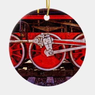 Vintage Steam Train Wheels Ceramic Ornament