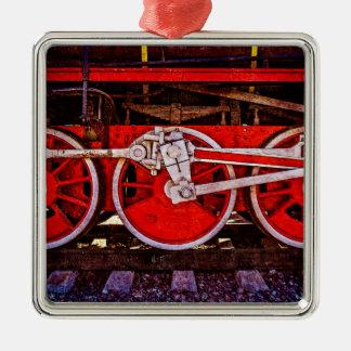Vintage Steam Train Wheels Metal Ornament