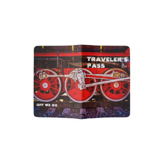 Vintage Steam Train Wheels Passport Holder