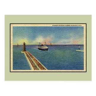 Vintage steamer entering harbour Muskegon MI Postcard