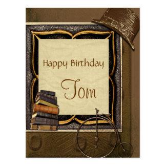 Vintage Steampunk Collage Birthday Postcard