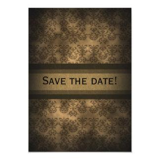 "Vintage Steampunk Damask Anniversary  Invitation 5"" X 7"" Invitation Card"