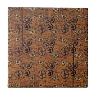 Vintage Steampunk Gears Wallpaper Ceramic Tile