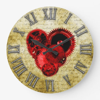 Vintage Steampunk Heart No.2 Large Clock