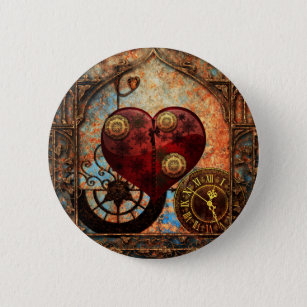 Vintage Steampunk Hearts Wallpaper 6 Cm Round Badge