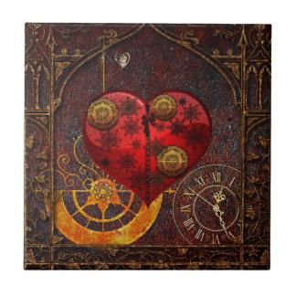 Vintage Steampunk Hearts Wallpaper Ceramic Tile