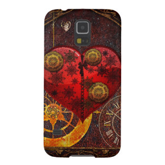 Vintage Steampunk Hearts Wallpaper Galaxy S5 Cases