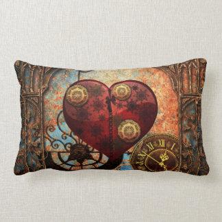 Vintage Steampunk Hearts Wallpaper Lumbar Cushion