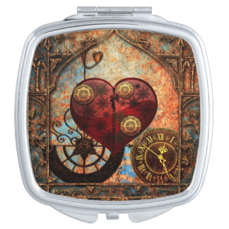 Vintage Steampunk Hearts Wallpaper Makeup Mirrors
