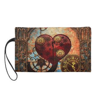 Vintage Steampunk Hearts Wallpaper Wristlet