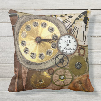 Vintage Steampunk Retro Clock Gears Antique Gold Throw Pillow