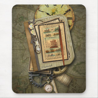 Vintage Steampunk Travel Mouse Pad