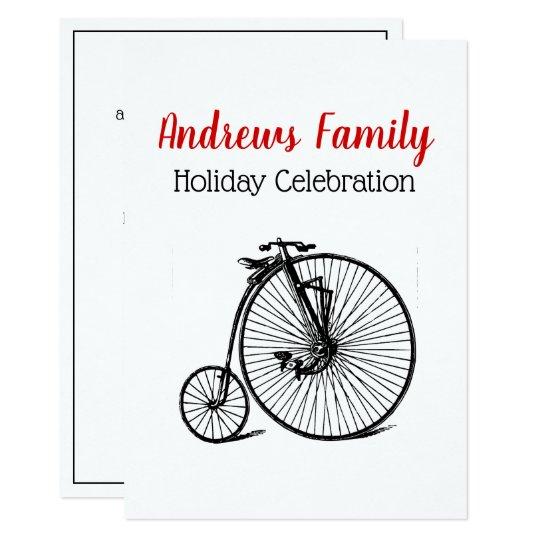 Vintage Steampunk Velocipede Bicycle Bike Xmas Card