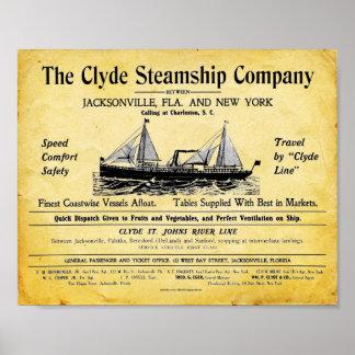 Vintage Steamship Print - Clyde Steamship Company