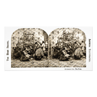 Vintage Stereoview - Christmas Eve by the Tree Card