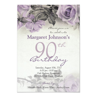 Vintage Sterling Silver Purple Rose 90th Birthday 13 Cm X 18 Cm Invitation Card