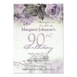Vintage Sterling Silver Purple Rose 90th Birthday Invites