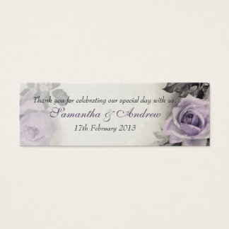 Vintage Sterling Silver Rose Wedding Favour Tags Mini Business Card