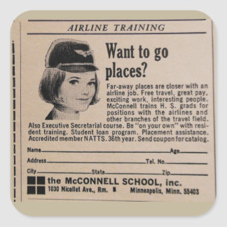 Vintage Stewardess Airline Career Square Sticker