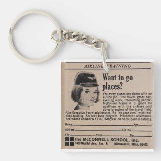 Vintage Stewardess Flight Attendant Double-Sided Square Acrylic Keychain