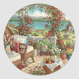 Vintage sticker with many flowers, landscape