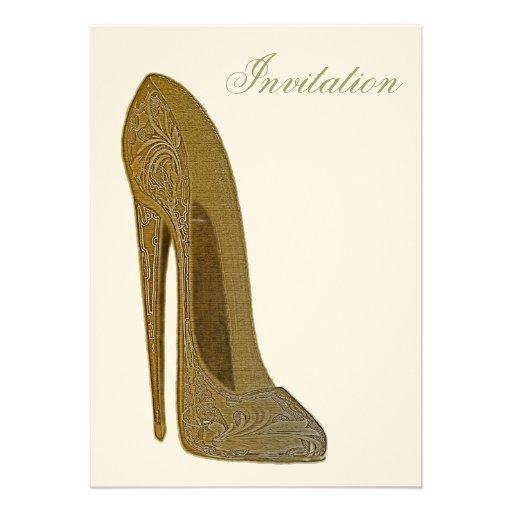 Vintage Stiletto Shoe Art Invitation