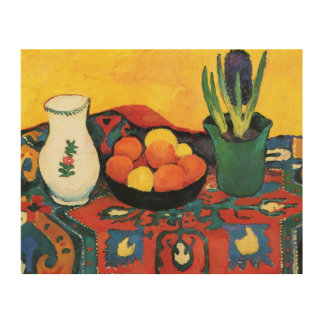 Vintage Still life Hyacinth carpet August Macke Wood Wall Decor