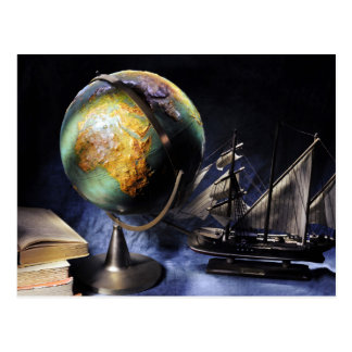 Vintage still life with globe postcard