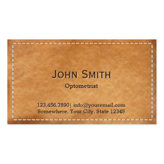 Vintage Stitched Leather Optometrist Business Cards