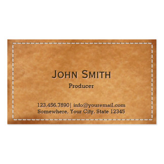 Vintage Stitched Leather Producer Business Card
