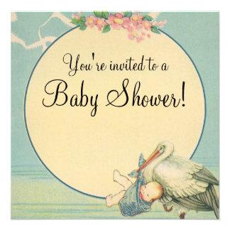 Vintage Stork Baby Boy Blue Blanket Baby Shower Personalized Invite