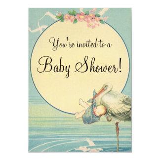 Vintage Stork Baby Boy Blue Blanket Baby Shower 13 Cm X 18 Cm Invitation Card