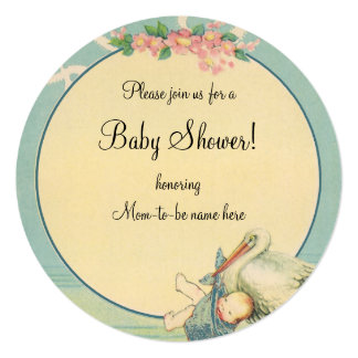 Vintage Stork Baby Boy Blue Blanket Baby Shower Personalized Announcement