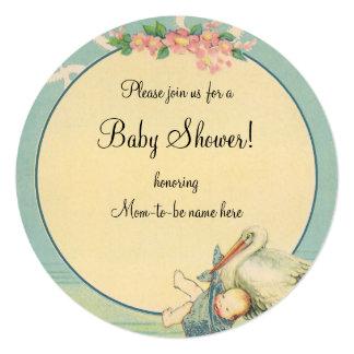Vintage Stork Baby Boy Blue Blanket Baby Shower 13 Cm X 13 Cm Square Invitation Card