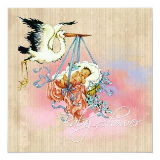 """Vintage Stork Baby Boy Shower 5.25"""" Square Invitation Card"""
