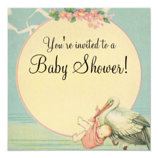 Vintage Stork Baby Girl Pink Blanket Baby Shower 13 Cm X 13 Cm Square Invitation Card