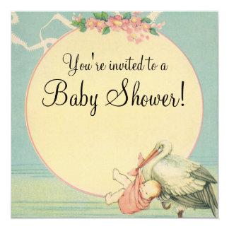 Vintage Stork Baby Girl Pink Blanket Baby Shower 13 Cm X 13 Cm Square Invitation Card