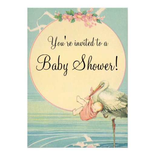 Vintage Stork Baby Girl Pink Blanket Baby Shower Personalized Announcements