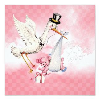 "Vintage Stork Baby Girl Shower 5.25"" Square Invitation Card"