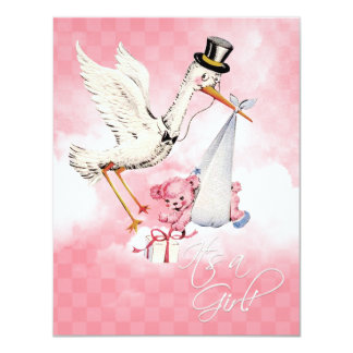 "Vintage Stork Baby Girl Shower 4.25"" X 5.5"" Invitation Card"