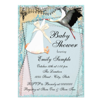 Vintage Stork Baby Shower Card