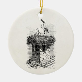 Vintage Stork Bird Nest Bird Antique Template Ceramic Ornament