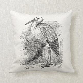 Vintage Stork Bird Personalized Storks Retro Birds Cushions