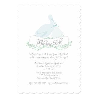 vintage stork blue BABY SHOWER invitation