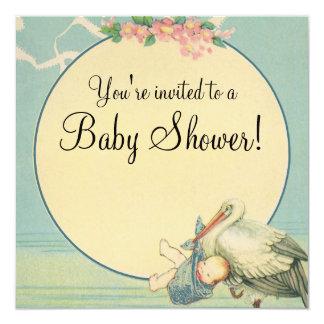 Vintage Stork Blue Blanket Baby Shower Invitation