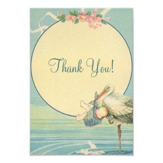 Vintage Stork Blue Boy Baby Shower Thank You 9 Cm X 13 Cm Invitation Card