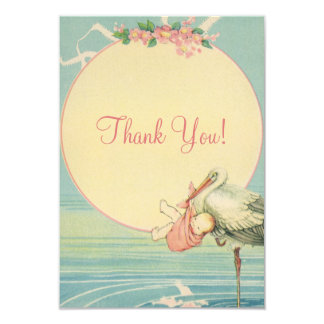 Vintage Stork Pink Girl Baby Shower Thank You 9 Cm X 13 Cm Invitation Card