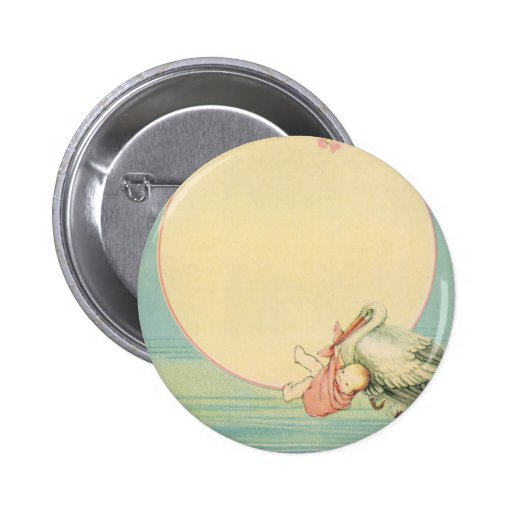 Vintage Stork with Baby Girl in Pink Blanket Buttons