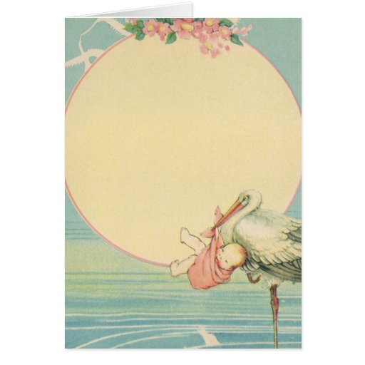 Vintage Stork with Baby Girl in Pink Blanket Greeting Card